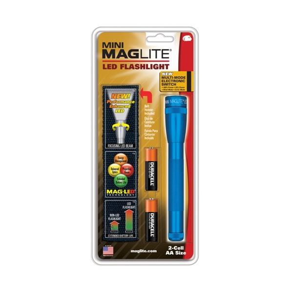 MagLite Mini LED2AA SP2211H Stableuchte blau inkl. 2x Mignon AA Batterie + Nylonholster im Blister
