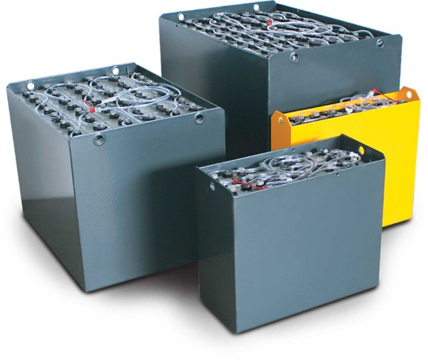 Q-Batteries 48V Gabelstaplerbatterie 5 PzS 300 Ah (840* 610 * 390mm L/B/H) Trog 57127002 inkl. Aquam