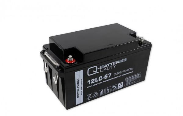 Q-Batteries 12LC-67 / 12V - 67Ah Blei Akku Zyklentyp AGM - Deep Cycle VRLA