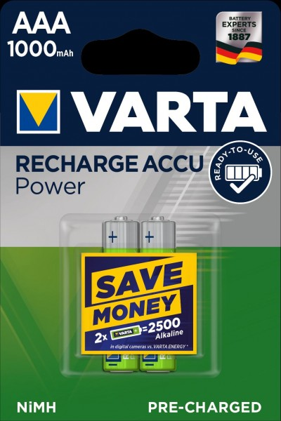 Varta Akku Recharge Accu Power Micro AAA NiMH 1000mAh (2er Blister)