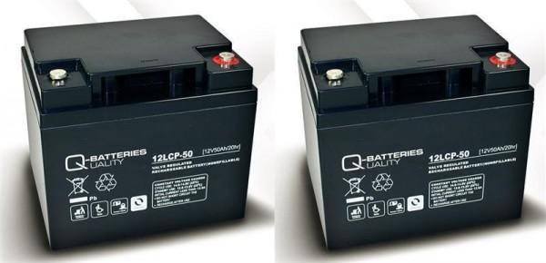 Ersatzakku für Unirolle Scooter 2 St. Q-Batteries 12LCP-50 12V - 50Ah Blei Akku Zyklentyp AGM VRLA