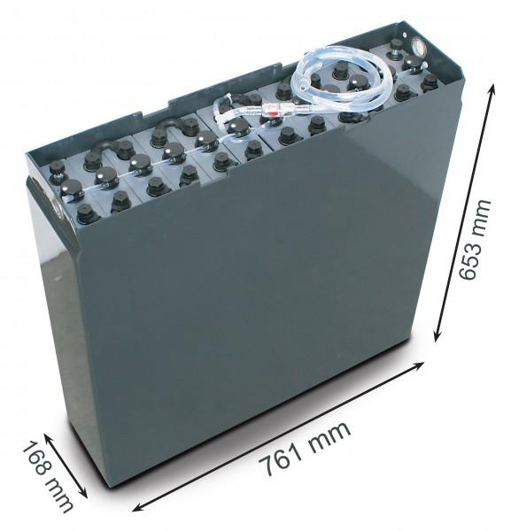 Q-Batteries 24V Gabelstaplerbatterie 3 PzB 225 Ah (761 x 168 x 653mm L/B/H) Trog 57314133 inkl. Aqua
