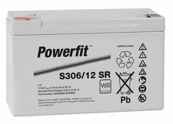 Exide Powerfit S306/12 SR 6V 12Ah dryfit Blei-Akku AGM mit VdS