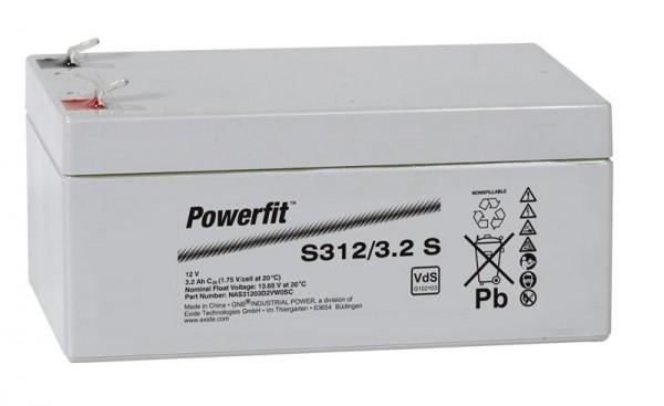 Exide Powerfit S312/3,2 S 12V 3,2Ah dryfit Blei-Akku AGM mit VdS