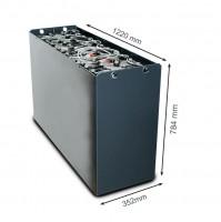 Q-Batteries 48V Gabelstaplerbatterie 4 PzS 620 DIN C (1220 x 352 x 784) Trog 57017091 inkl. Aquamati