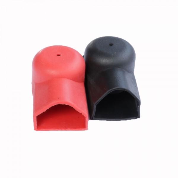 Polkappen Paar für Flachverbinder und Kabel 1 x rot, 1 x schwarz