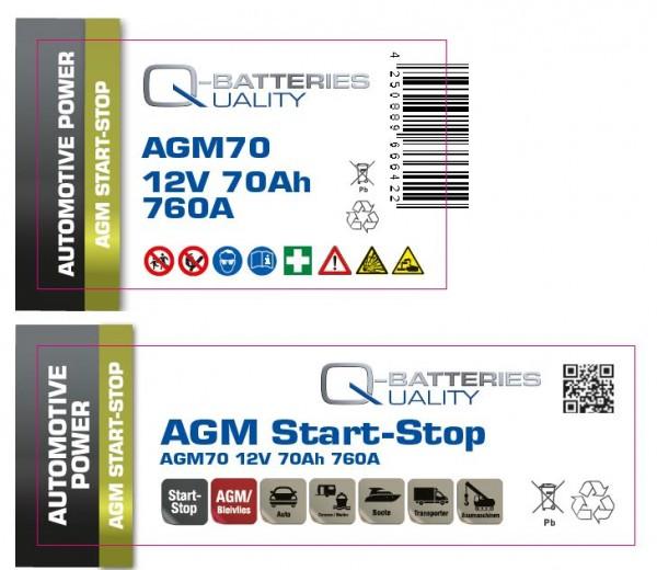 Aufkleber für Q-Batteries AGM70, bitte Exide EK700 überkleben