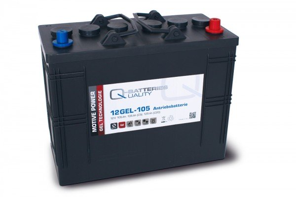 Q-Batteries 12GEL-105 Antriebsbatterie 12V 105Ah (5h), 120Ah (20h) wartungsfreier Gel-Akku VRLA