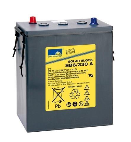 Exide Sonnenschein Solar Block SB6/330 A 6V 330Ah (C100) dryfit Blei Gel-Batterie / Blei Akku