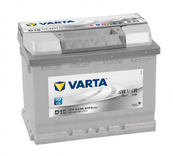 VARTA D15 Silver Dynamic 12V 63Ah 610A Autobatterie 563 400 061