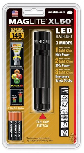 MagLite XL50-S3016U LED 3AAA schwarz im Blister inkl. 3 Micro AAA Zellen