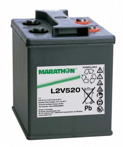 Exide Marathon L2V520 2V 520Ah AGM Blei Akku VRLA