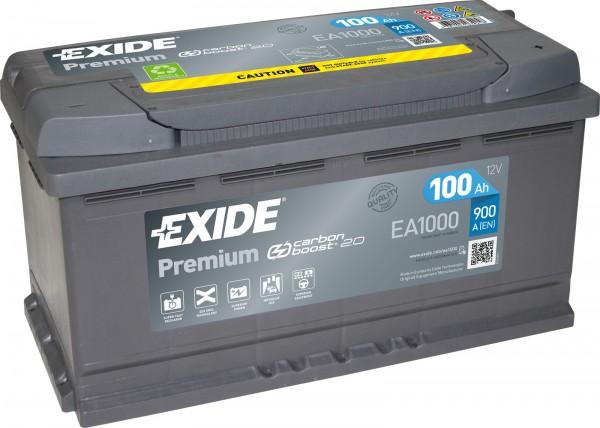 Exide EA1000 Premium Carbon Boost 12V 100Ah 900A Autobatterie
