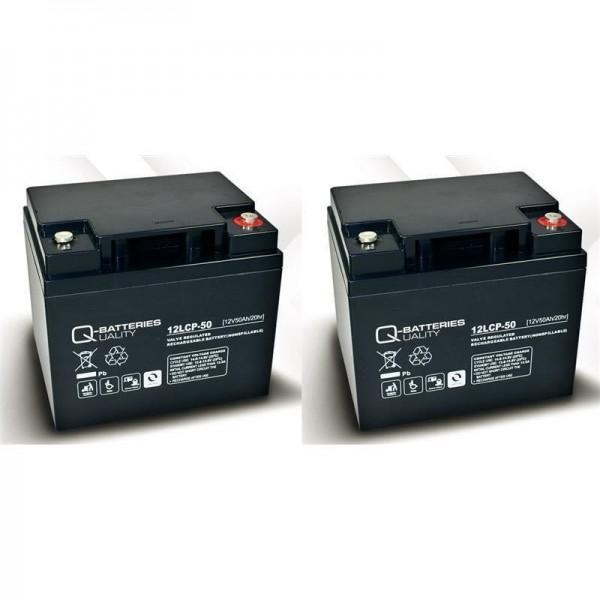 Ersatzakku für Invacare G2000 2 St. Q-Batteries 12LCP-50 12V - 50Ah Blei Akku Zyklentyp AGM VRLA