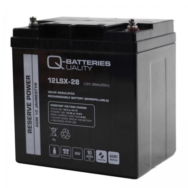 Q-Batteries 12LSX-28 12V 28Ah Blei-Vlies-Akku / AGM 10 Jahre
