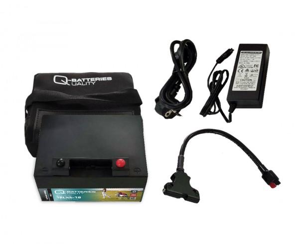 Q-Batteries 12Lith-18 Lithium Akku Pack Golf 12,8V 18Ah 230,4Wh inkl. Ladegerät + Tasche Gefahrgut