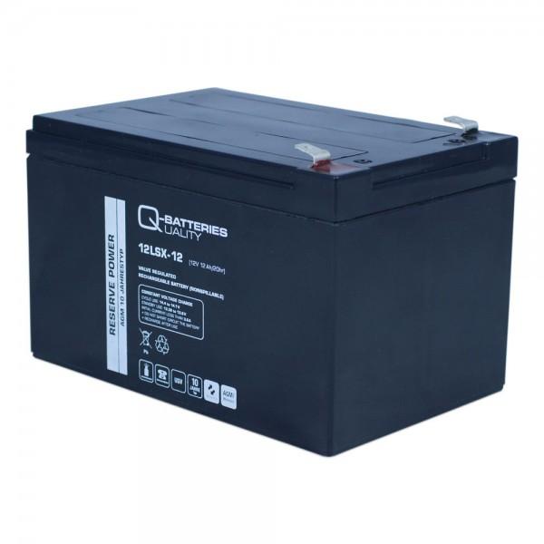 Q-Batteries 12LSX-12 12V 12,2 Ah Blei-Vlies-Akku / AGM 10 Jahre F2 Anschluss