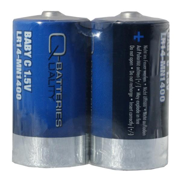 Q-Batteries Baby Batterie LR14 C 1,5V Alkaline Zellen (2er Folie)