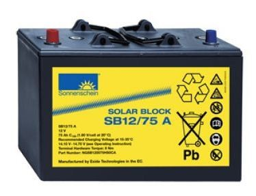 Exide Sonnenschein Solar Block SB12/75 A 12V 75Ah (C100) dryfit Blei Gel-Batterie / Blei Akku
