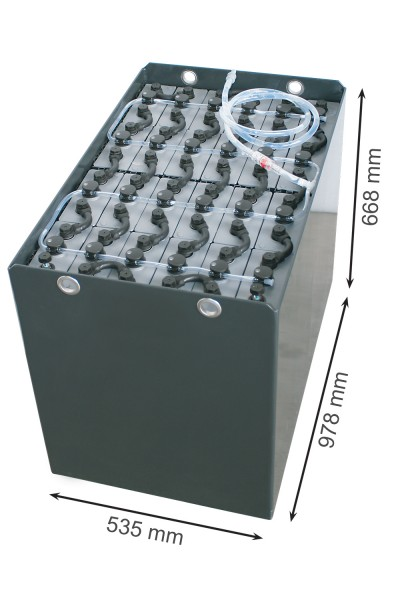Q-Batteries 48V Gabelstaplerbatterie 4 PzS 500 Ah (978 x 535 x 668mm L/B/H) Trog 57097002 inkl. Aqua