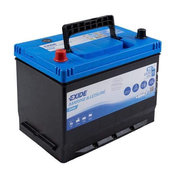 Exide ER350 Dual 12V 80Ah Starterbatterie und Versorgungsbatterie