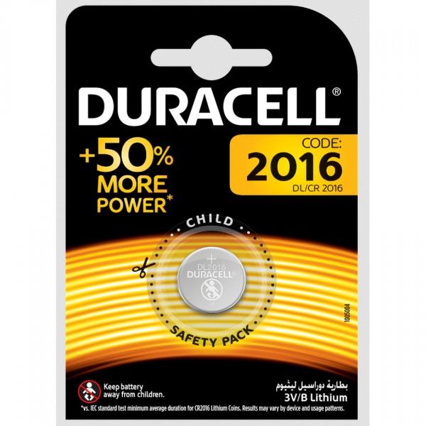 Duracell Lithium CR2016 Knopfzelle (1er Blister) UN3090
