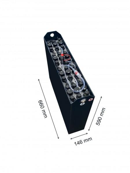 Q-Batteries 24V Gabelstaplerbatterie 2 PzB 150 Ah (660 x 146 x 590mm L/B/H) Trog 57034165 inkl. Aqua