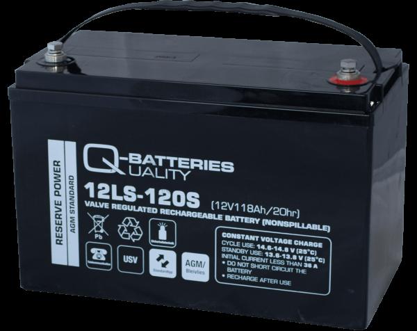 Q-Batteries 12LS-120S / 12V - 118Ah Blei Akku Standard-Typ AGM 10 Jahres Typ