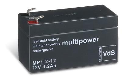 Multipower MP1,2-12 / 12V 1,2Ah Blei Akku AGM mit VdS Zulassung