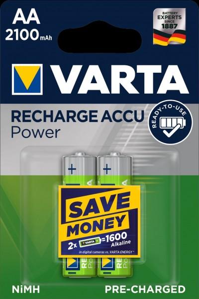 Varta Akku Recharge Accu Power Mignon AA NiMH 2100mAh (2er Blister)