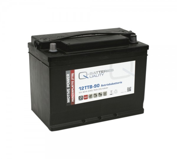 Q-Batteries 12TTB-90 12V 90Ah (C20) geschlossene Blockbatterie, positive Röhrchenplatte