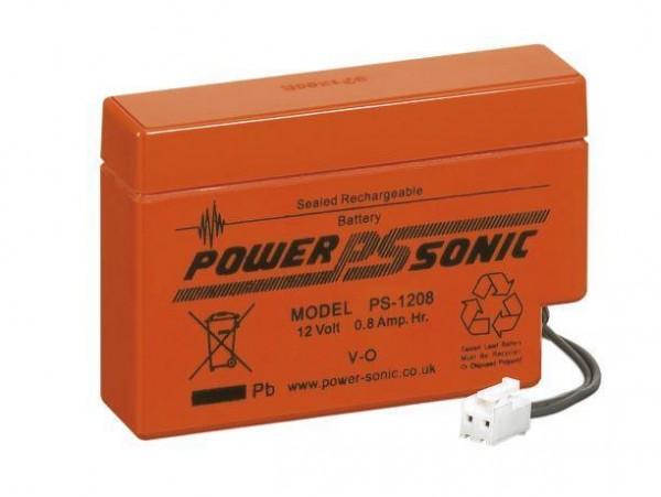 Powersonic 12V 0,8Ah Blei-Vlies Akku AGM PS-1208 mit JST-Stecker
