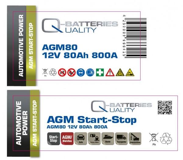 Aufkleber für Q-Batteries AGM80, bitte Exide EK800 überkleben