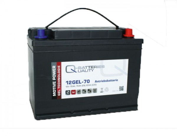 Q-Batteries 12GEL-70 Antriebsbatterie 12V 70Ah (5h), 75Ah (20h) wartungsfreier Gel-Akku VRLA