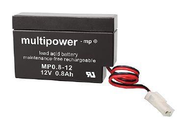 Multipower MP0,8-12 / 12V 0,8Ah Blei Akku AGM mit AMP-Stecker