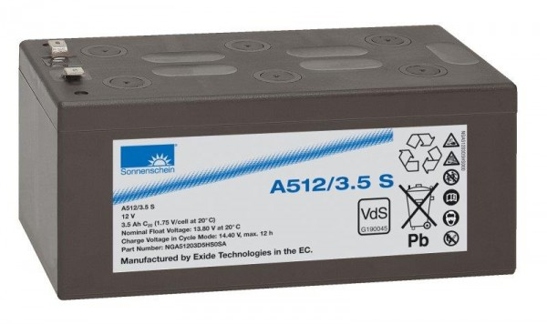 Exide Sonnenschein A512/3,5 S VdS 12V 3,5Ah dryfit Blei-Gel-Akku VRLA