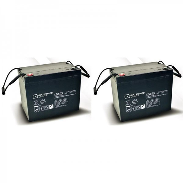 Ersatzakku für Sopur E160 2 St. Q-Batteries 12LC-75 / 12V - 77Ah Blei Akku Zyklentyp AGM VRLA