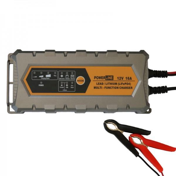 PowerLine Multifunktions-Ladegerät 12V 16A für Blei- und Lithium-Akkus