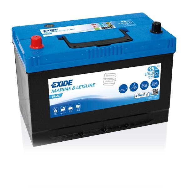 Exide ER450 Dual 12V 95Ah Starterbatterie und Versorgungsbatterie