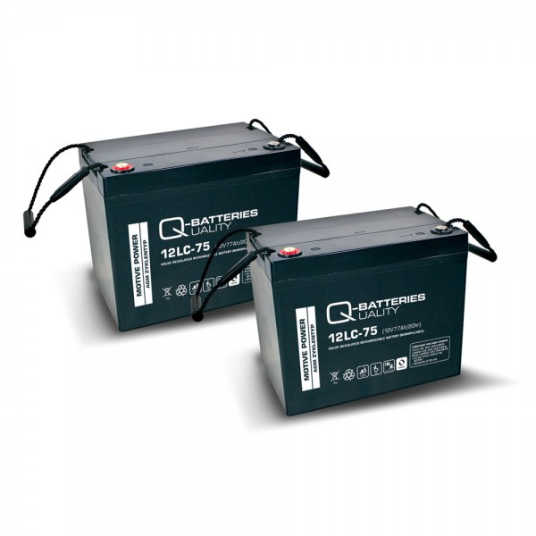 Ersatzakku für Invacare G23 2 St. Q-Batteries 12LC-75 / 12V - 77Ah Blei Akku Zyklentyp AGM VRLA