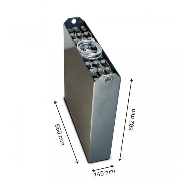Q-Batteries 24V Gabelstaplerbatterie 2 PzB 200 Ah (660 x 146 x 682mm L/B/H) Trog 57034113 inkl. Aqua