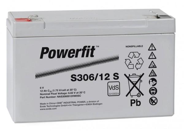 Exide Powerfit S306/12 S 6V 12Ah dryfit Blei-Akku AGM mit VdS