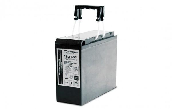 Q-Batteries 12LFT-55 12V 55Ah AGM Frontterminal Blei Akku 10-Jahrestyp VRLA