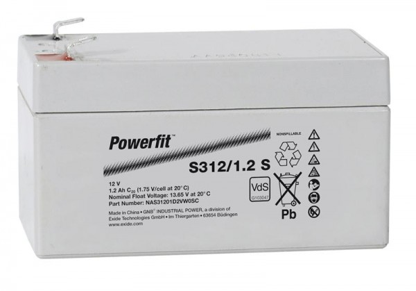 Exide Powerfit S312/1,2 S 12V 1,2Ah dryfit Blei-Akku AGM mit VdS