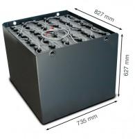 Q-Batteries 48V Gabelstaplerbatterie 6 PzS 750 DIN A (827 x 735 x 627) Trog 57017003 inkl. Aquamatik