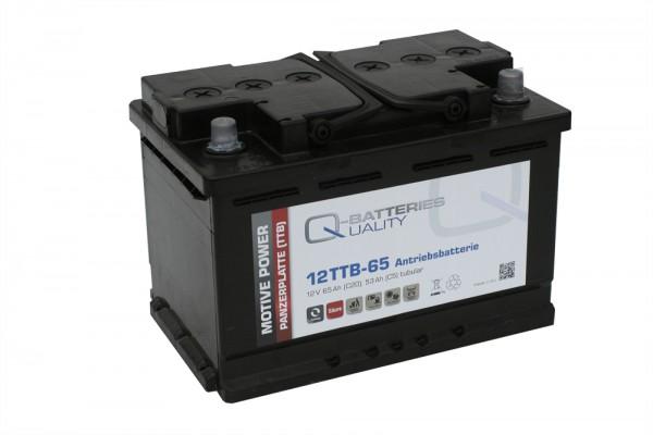 Q-Batteries 12TTB-65 12V 65Ah (C20) geschlossene Blockbatterie, positive Röhrchenplatte