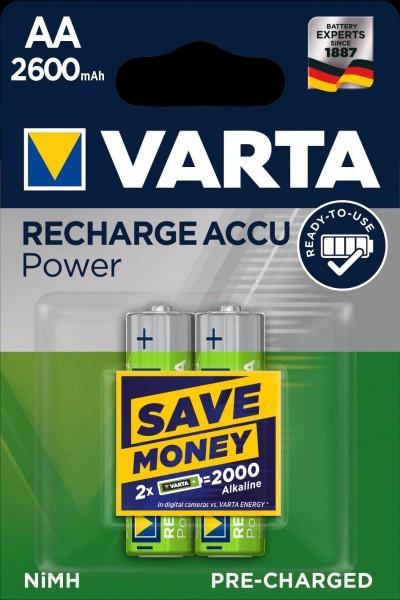 Varta Akku Recharge Accu Power Mignon AA 2600mAh (2er Blister)