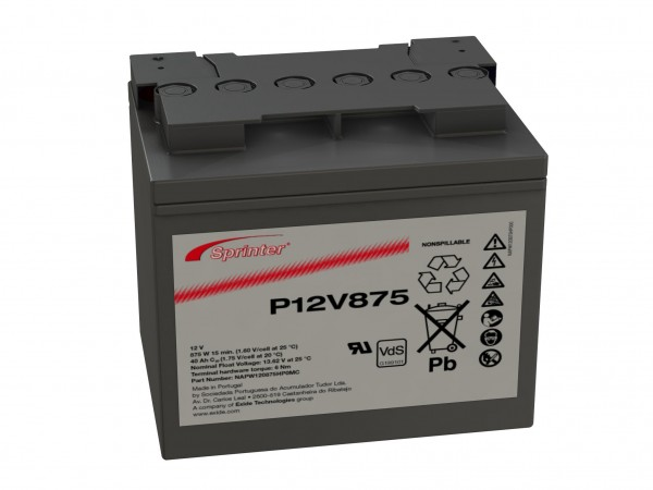 Exide Sprinter P12V875 12V 41Ah Blei-AGM Akku mit VdS