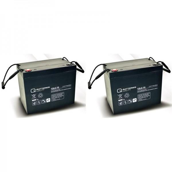 Ersatzakku für MOBILIS M84 2 St. Q-Batteries 12LC-75 / 12V - 77Ah Blei Akku Zyklentyp AGM VRLA