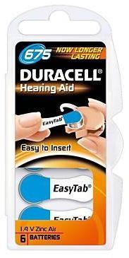 Duracell ActivAir Easy Tab 675 Hörgeräte Batterie 1,4V (6er Blister)